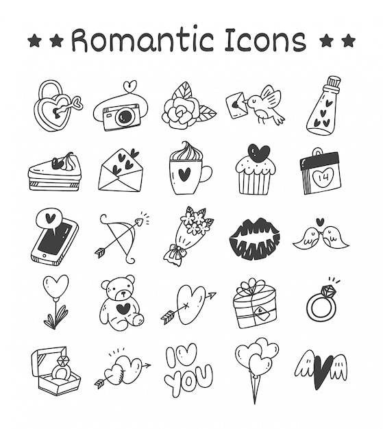 落書きスタイルのロマンチックなアイコンのセット Premiumベクター