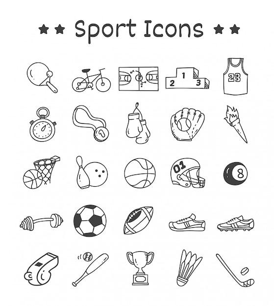 落書きスタイルのスポーツアイコンのセット Premiumベクター
