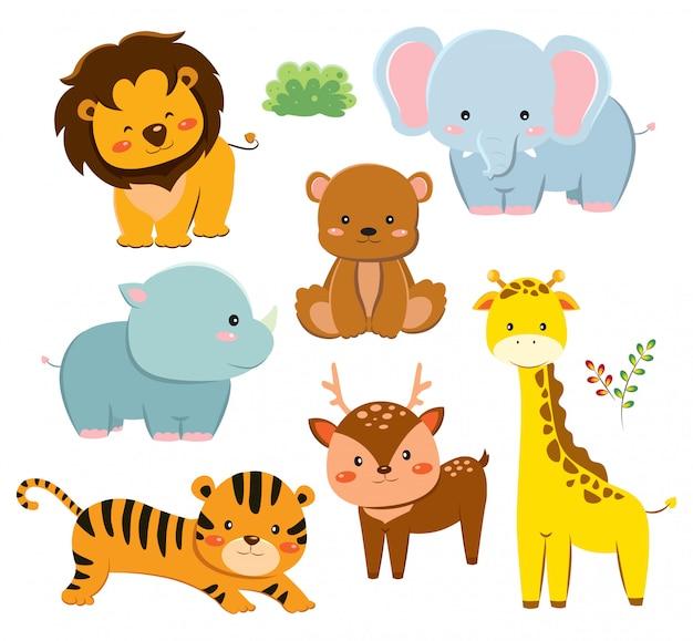 Набор милый мультфильм животных Premium векторы