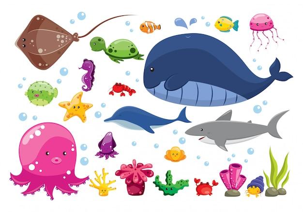 漫画の海の動物のセット Premiumベクター