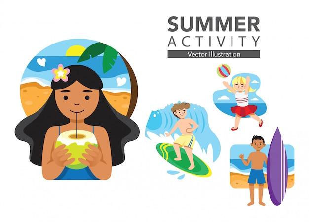 Набор летней иллюстрации деятельности Premium векторы