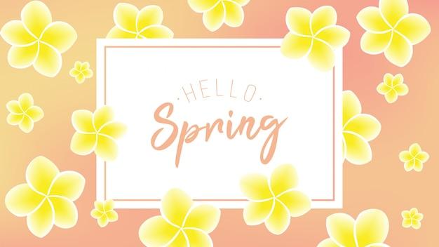 Желтый цветок с привет текст весны Premium векторы