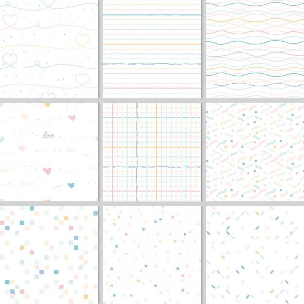 虹パステル調の心と幾何学的なシームレスパターンコレクション Premiumベクター