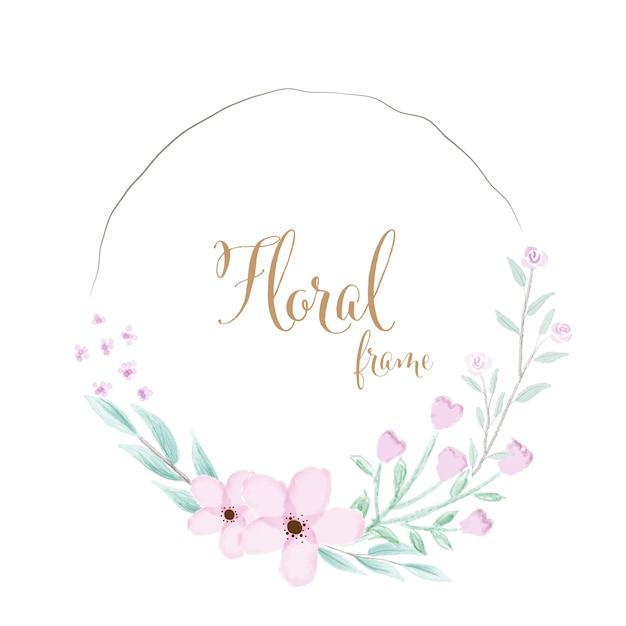 ゴールデンテキストと水彩のピンクの花の花輪フレーム Premiumベクター