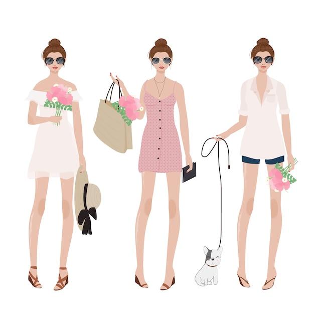 夏の女性がパーティーのための衣装をドレスします。 Premiumベクター