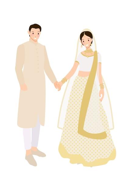 美しいインドのカップルの伝統的な結婚式のサリーで新郎新婦ドレスフレイスタイル Premiumベクター