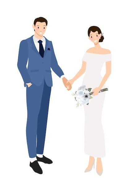 結婚式のカップルはネイビーブルーのスーツとドレスのフラットスタイルで手をつないで Premiumベクター