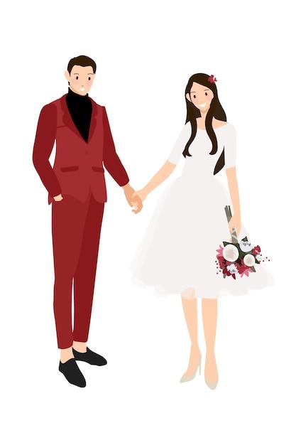 赤いスーツを着てカジュアルな結婚式のカップルとドレスフラットスタイル Premiumベクター