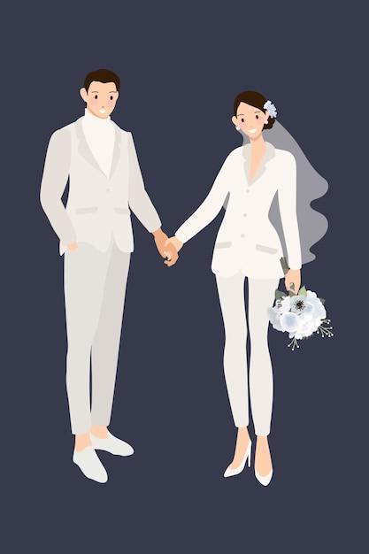 手を繋いでいる白いスーツのズボンで流行に敏感な結婚式のカップル Premiumベクター