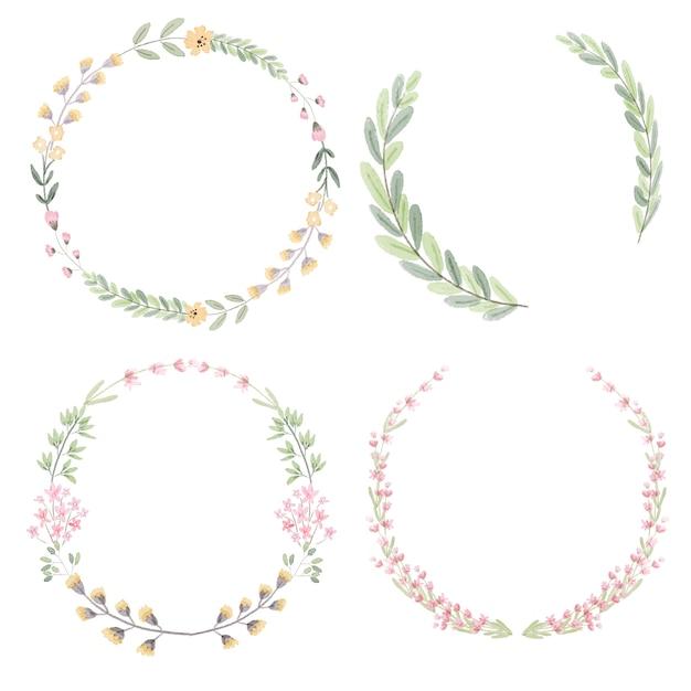 Акварельная коллекция цветов и листьев венок Premium векторы