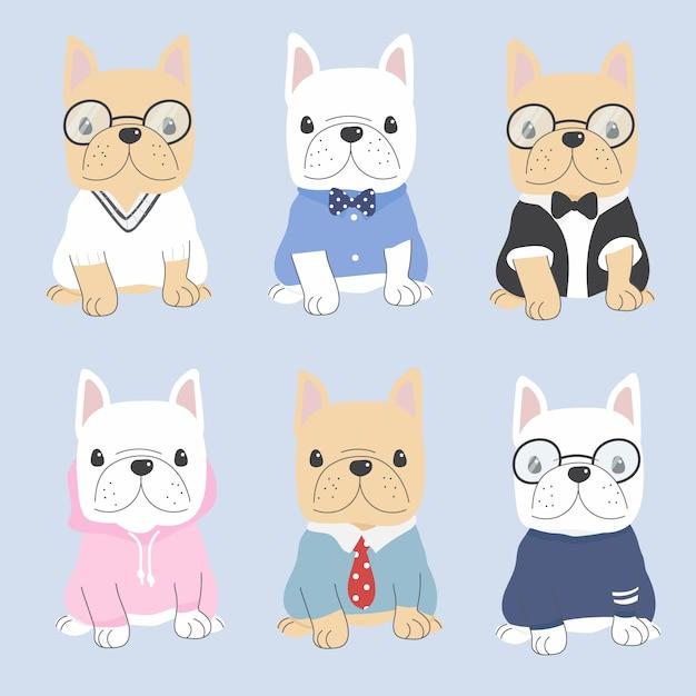 Симпатичная плоская собака французского бульдога стиля в костюме нежного человека Premium векторы
