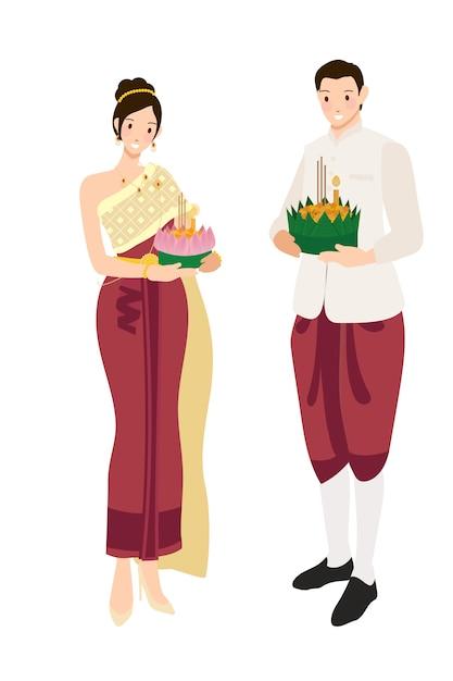 浮遊花ロイクラトン祭に伝統的な赤いドレスでかわいいタイのカップル Premiumベクター