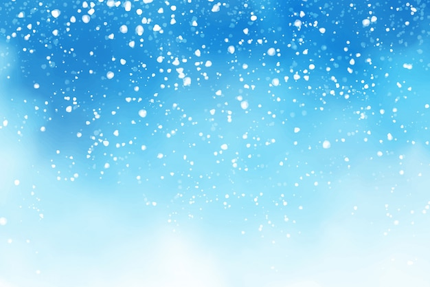 Акварель зима голубое небо с падающим снегом хлопья фон цифровая живопись иллюстрация Premium векторы