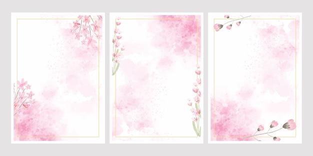 結婚式や誕生日の招待カードのゴールデンフレームコレクションとピンクの水彩花スプラッシュバックグラウンド Premiumベクター