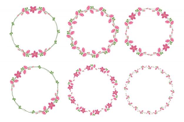 Симпатичный плоский стиль минимальный розовый цветок венок кадр коллекции на день святого валентина Premium векторы