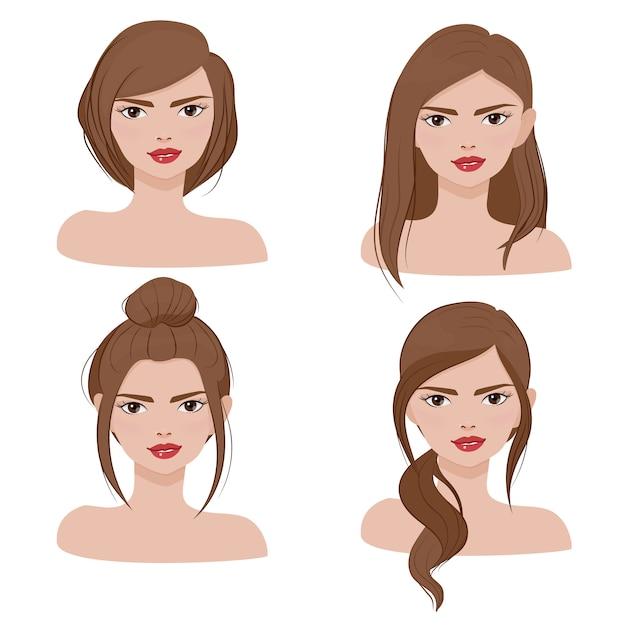Женский портрет лица в другой коллекции причесок Premium векторы