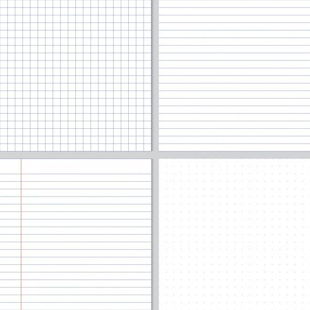 白のしわくちゃの紙の青いグラフ線とドットのシームレスパターン Premiumベクター