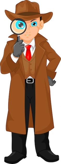 虫眼鏡を通して見る少年探偵 Premiumベクター