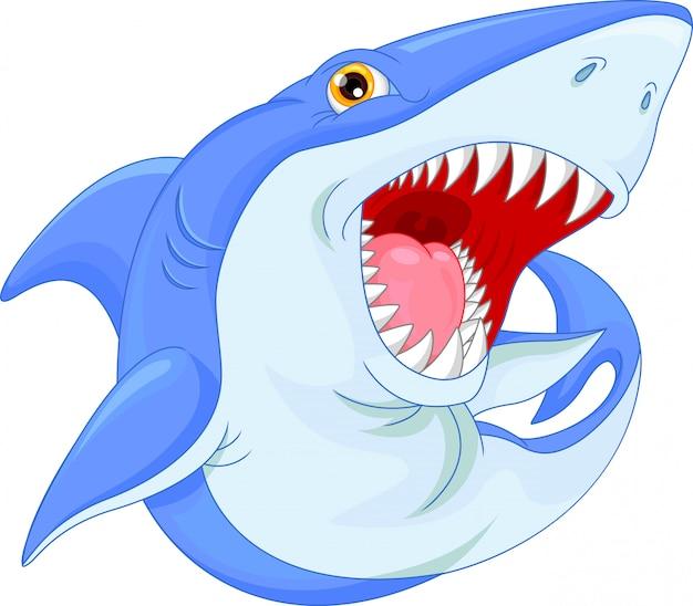 かわいいサメ漫画 Premiumベクター