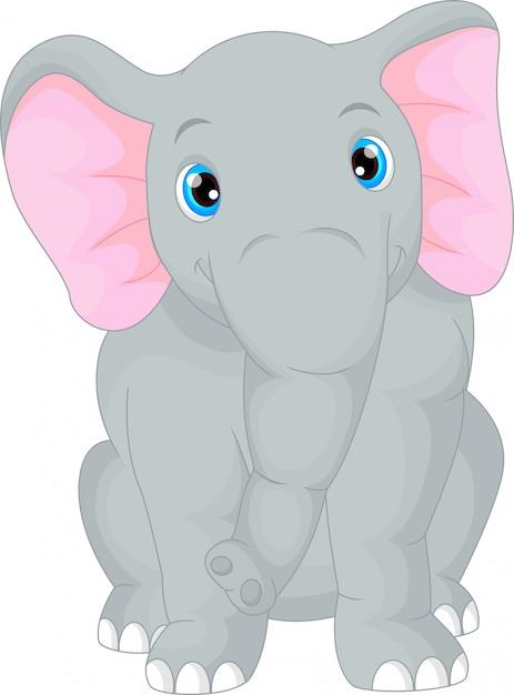 かわいい赤ちゃん象の漫画 Premiumベクター
