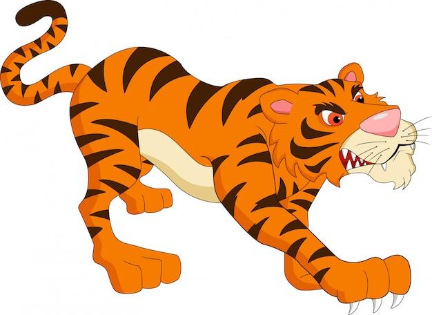 Мультфильм милый тигр Premium векторы