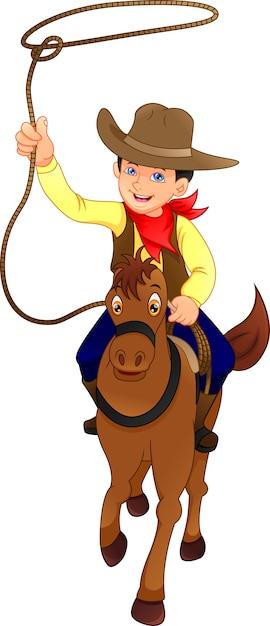 馬とかわいいカウボーイ子供 Premiumベクター