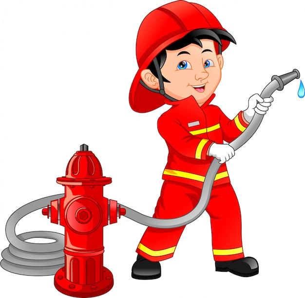 消防士漫画を着ている少年 Premiumベクター