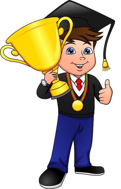 Молодой мальчик заканчивает и держит победный золотой кубок Premium векторы