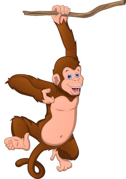 白地にかわいい猿の漫画 Premiumベクター