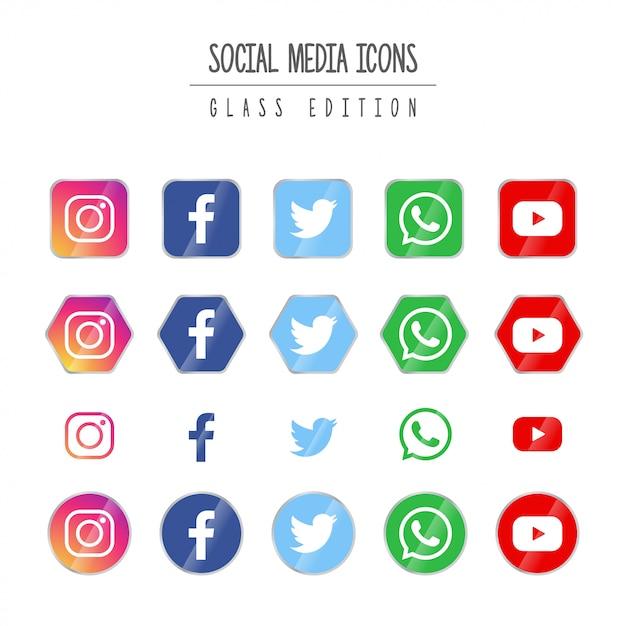 ソーシャルメディアグラス版 Premiumベクター