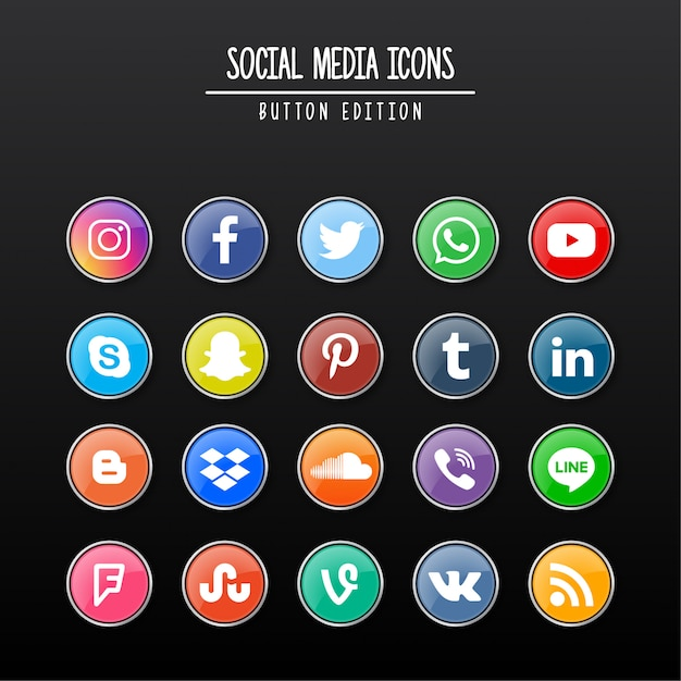 ソーシャルメディアボタンエディション Premiumベクター