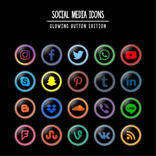 Социальные медиа светящиеся кнопки издание Premium векторы
