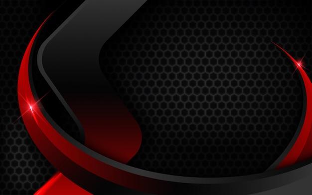 光の効果と黒赤の背景 Premiumベクター