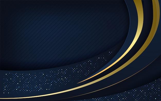 金色の輝く背景を持つダークブルーのオーバーラップレイヤー Premiumベクター