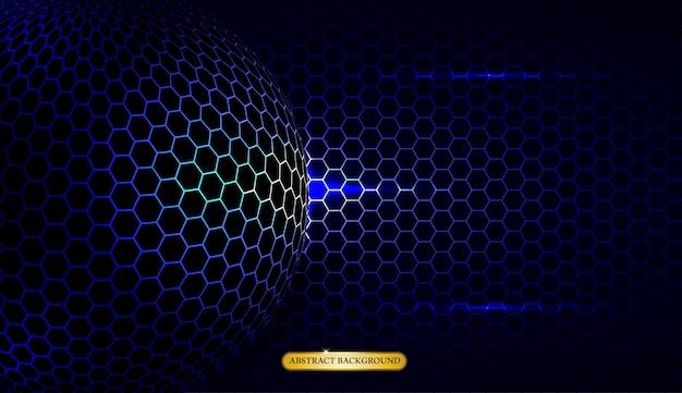 抽象的なメタリックブルーの幾何学的なフレームスポーツバックグラウンド Premiumベクター