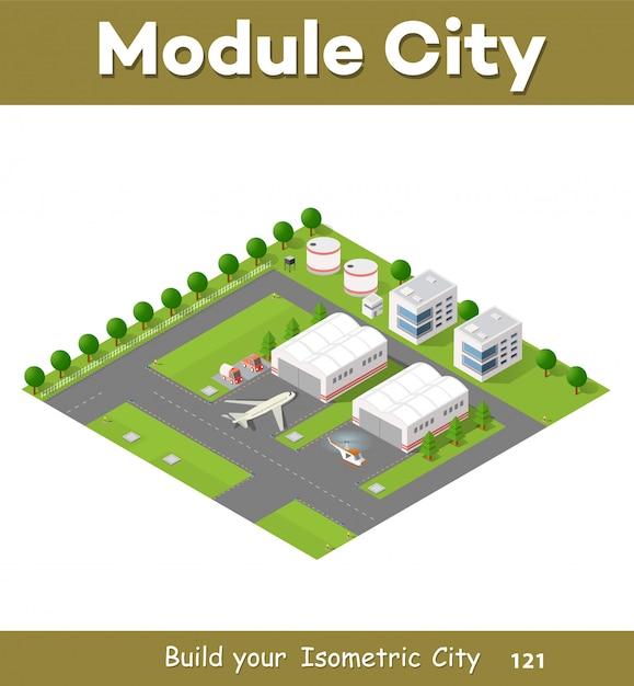 交通機関があるシティ空港 Premiumベクター