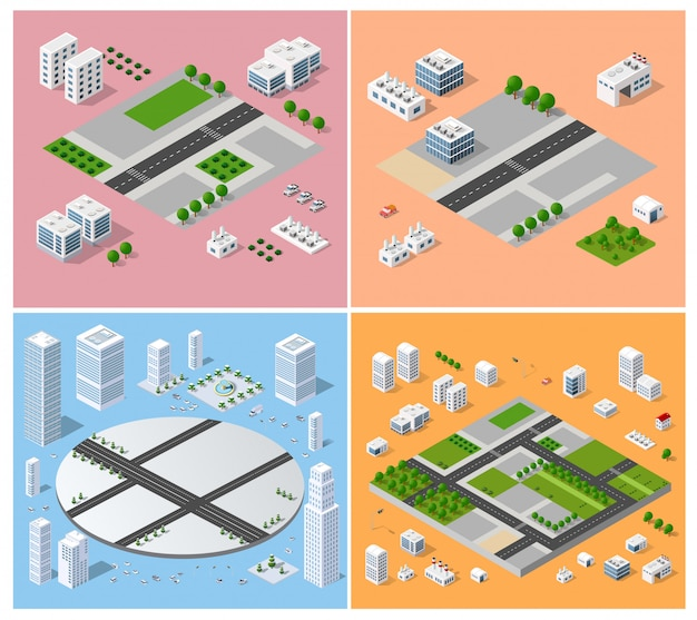 都市景観デザイン要素 Premiumベクター