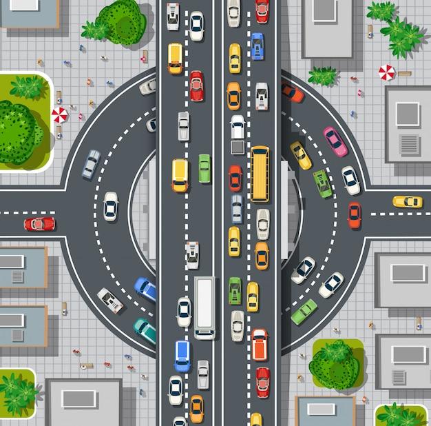 Вид сверху карты города Premium векторы