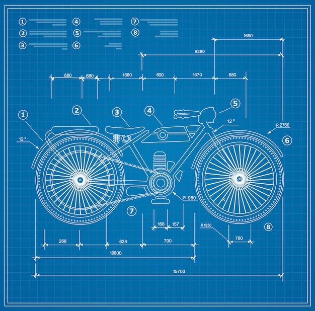 青写真計画概要オートバイのバイクのオートバイ。 Premiumベクター