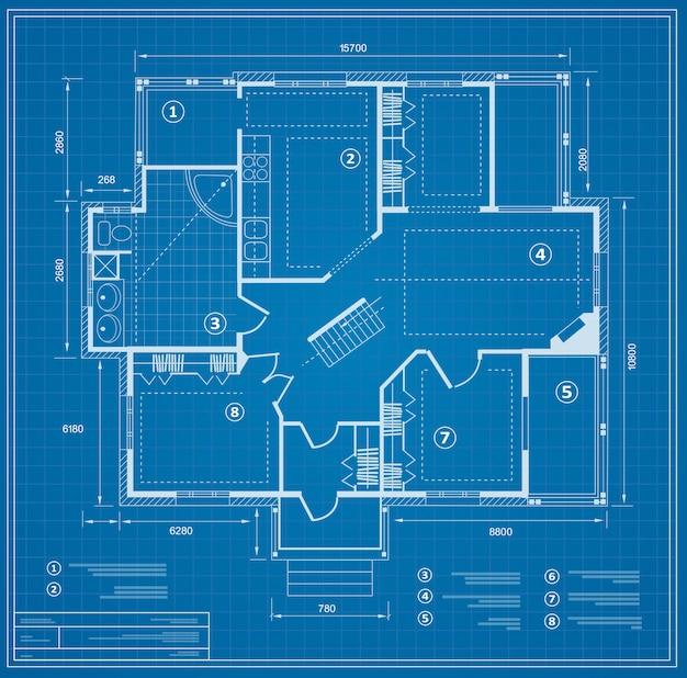 青写真の家計画図。記入の図 Premiumベクター