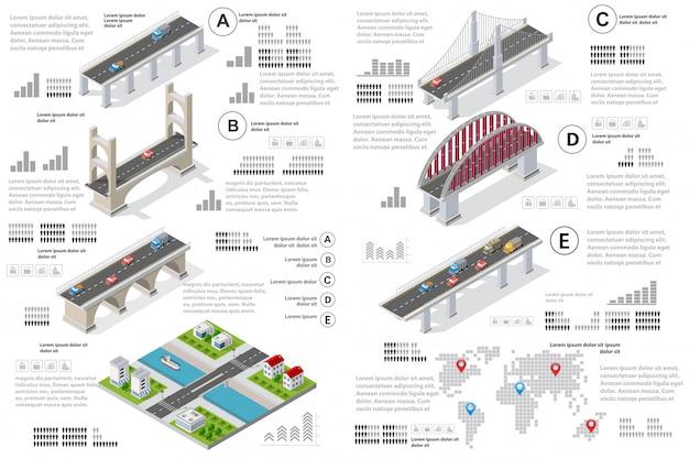 現場における橋梁のインフォグラフィックス Premiumベクター