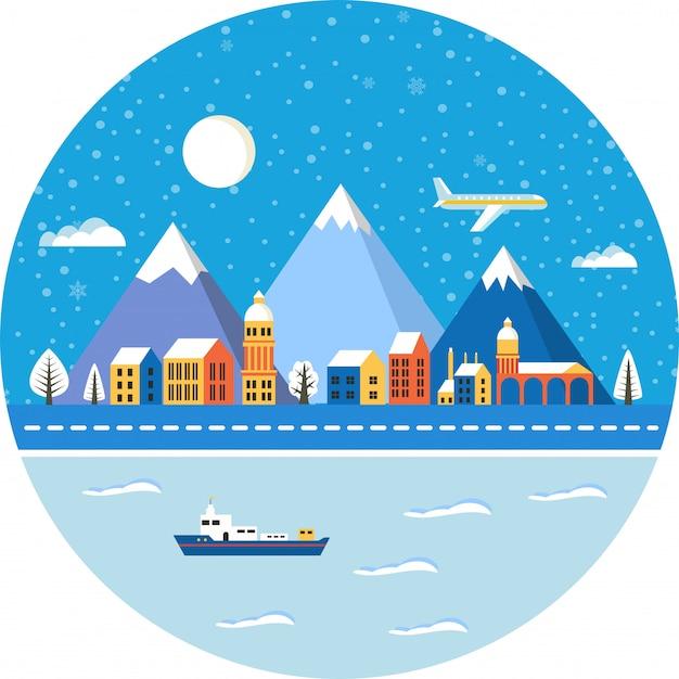 クリスマスの冬の風景 Premiumベクター
