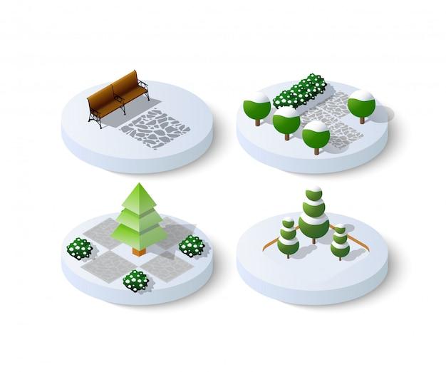 冬の雪のクリスマスのアイコン Premiumベクター