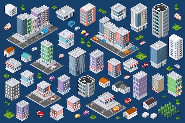 Комплекс городских плоских зданий Premium векторы