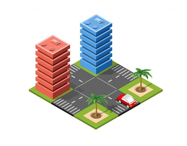 等尺性都市景観 Premiumベクター