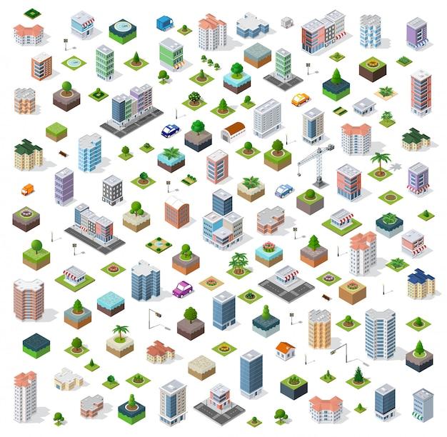 等尺性都市設定通り Premiumベクター