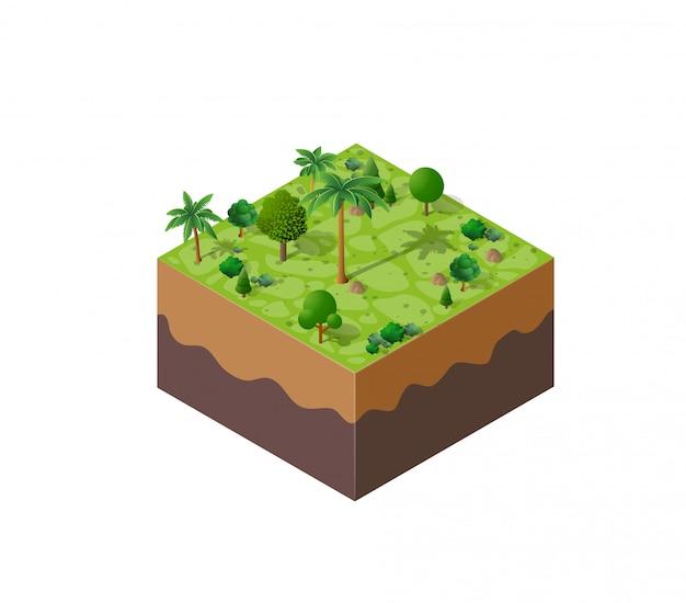 Природа лесной пейзаж Premium векторы