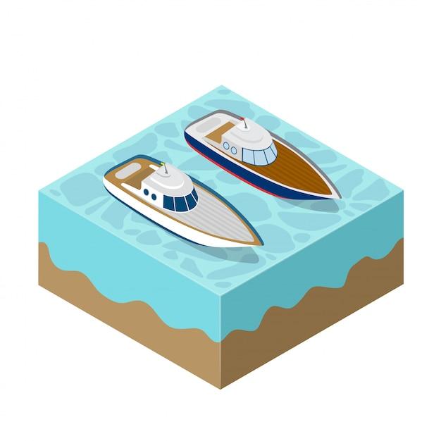 Изометрическая яхта морского круиза Premium векторы