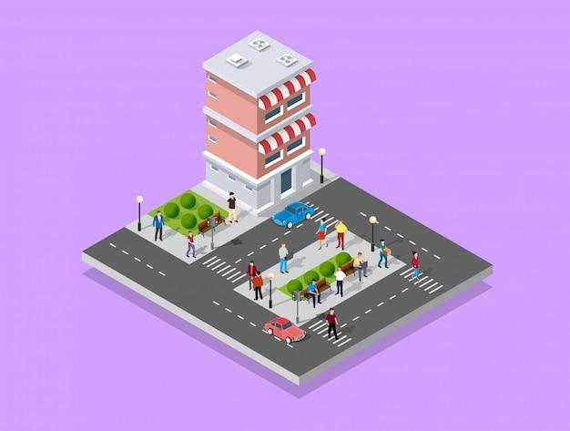 街を歩く人々 Premiumベクター