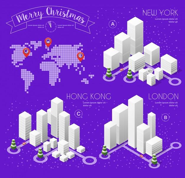 冬のクリスマス風景 Premiumベクター